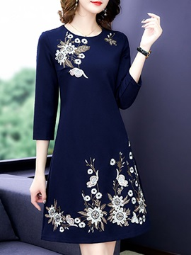 Round Neck Embroidery Pullover Floral Women's Dress