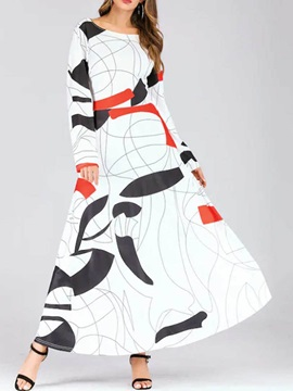 Long Sleeve Print Casual Color Block Women's Maxi Dress