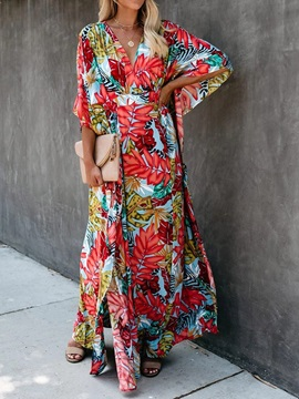 Ankle-Length Print V-Neck Women's Maxi Dress