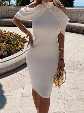 Knee-Length Short Sleeve Hollow Sheath Women's Bodycon Dress