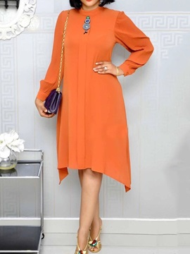 Long Sleeve Mid-Calf Stand Collar Regular Asymmetrical Women's Dress