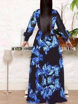V-Neck Floor-Length Print  Women's A-Line Dress