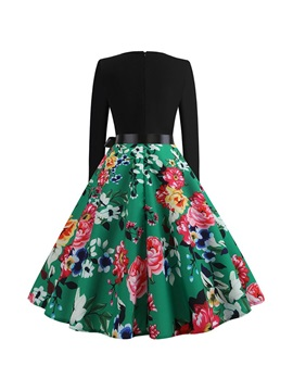 Round Neck Lace-Up Mid-Calf Women's Skater Dress