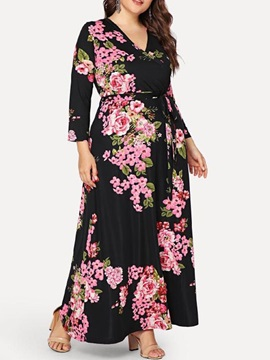 Print Long Sleeve Floor-Length High Waist Women's Maxi Dress