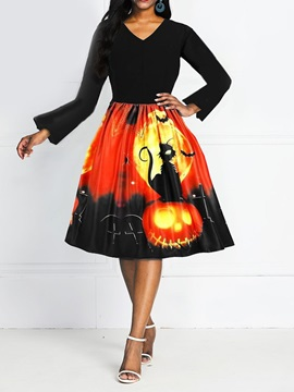 Halloween Costume V-Neck Nine Points Sleeve Mid-Calf Standard-Waist Expansion Women's Dress