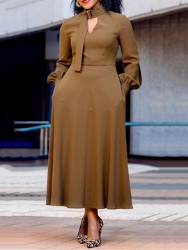 Stand Collar Long Sleeve Mid-Calf Standard-Waist Simple Women's Dress