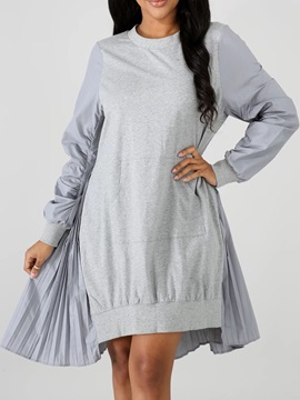 Long Sleeve Asymmetric Round Neck Asymmetrical Regular Women's Dress