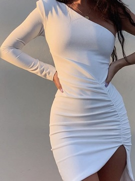 Oblique Collar Above Knee Long Sleeve Western Asymmetrical Women's Dress