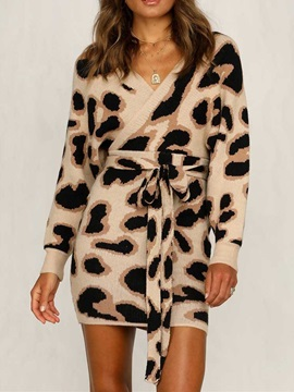 Above Knee Long Sleeve Print Batwing Sleeve Bodycon Women's Dress