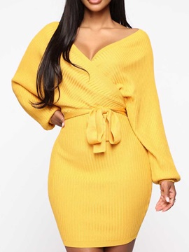 Long Sleeve Above Knee V-Neck Bodycon Pullover Women's Dress