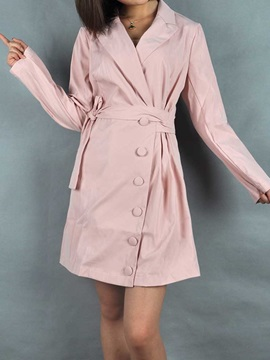 Long Sleeve Above Knee Notched Lapel Plain A-Line Women's Dress