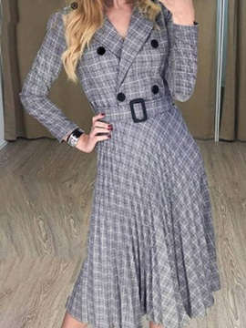 Long Sleeve Mid-Calf Notched Lapel Date Night/Going Out Pullover Women's Dress