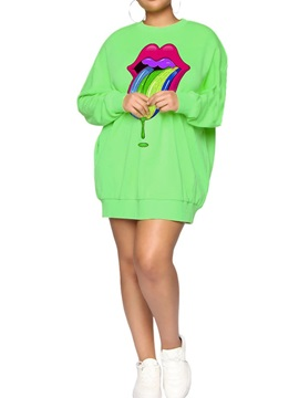 Round Neck Long Sleeve Above Knee Pullover A-Line Women's Dress