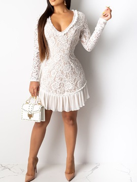 Lace Long Sleeve Above Knee Fall Floral Women's Dress