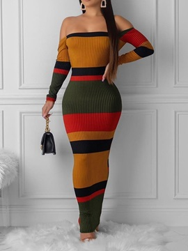 Off Shoulder Backless Long Sleeve Color Block Cold Shoulder Women's Dress