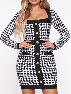 Long Sleeve Above Knee Print Bodycon Mid Waist Women's Dress