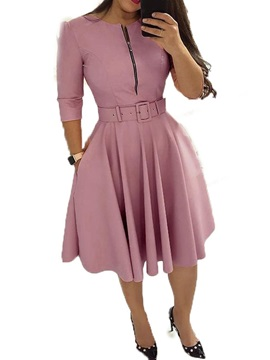 Belt Mid-Calf Three-Quarter Sleeve Pullover Women's Dress