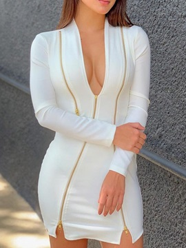 Zipper Above Knee Long Sleeve Regular Bodycon Women's Dress