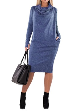 Mid-Calf Long Sleeve Heap Collar Plain Regular Women's Dress