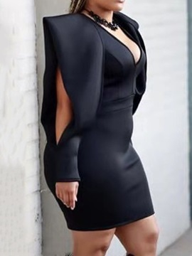 Hollow Above Knee V-Neck Mid Waist Bodycon Women's Dress
