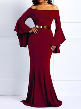 Off Shoulder Floor-Length Long Sleeve Party/Cocktail Pullover Women's Dress