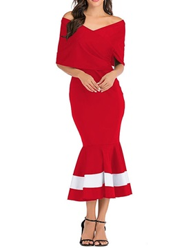 Mid-Calf Half Sleeve Pleated Elegant Pullover Women's Dress