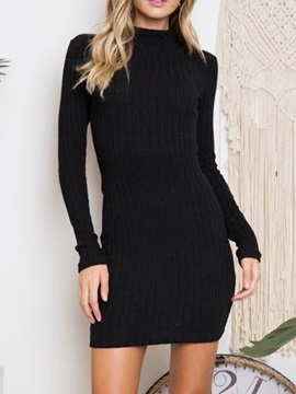 Long Sleeve Above Knee Stand Collar Plain Pullover Women's Dress