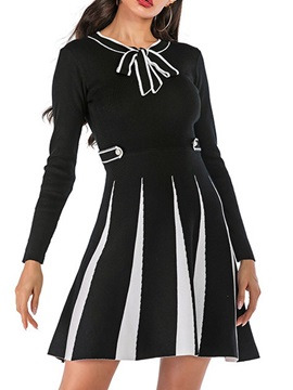 Above Knee Lace-Up Long Sleeve Spring Regular Women's Dress