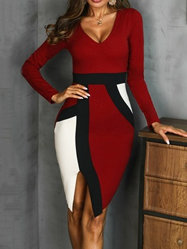 Split Long Sleeve V-Neck Pullover Color Block Women's Dress