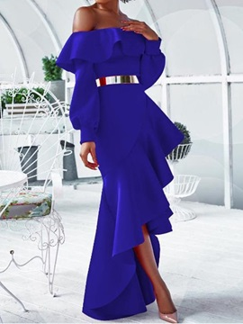 Long Sleeve Asymmetric Off Shoulder Winter Mid Waist Women's Dress