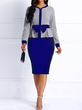 Mid-Calf V-Neck Bowknot Bodycon Office Lady Women's Dress