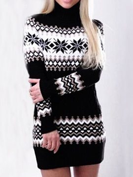 Long Sleeve Patchwork Turtleneck Regular Mid Waist Women's Dress