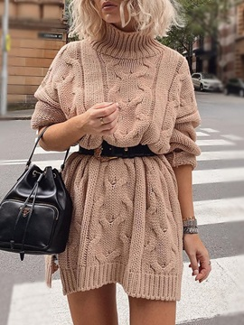 Long Sleeve Above Knee Split Casual Winter Women's Dress