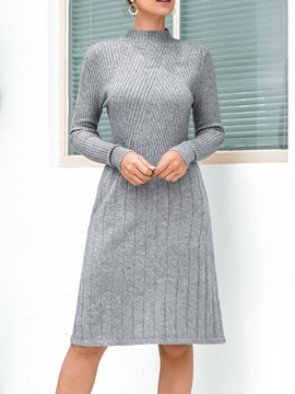 Knee-Length Stand Collar Long Sleeve Winter Date Night/Going Out Women's Dress