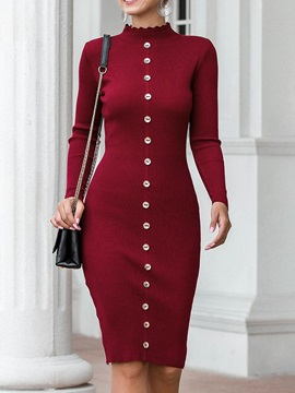 Knee-Length Stand Collar Long Sleeve Single-Breasted Bodycon Women's Dress