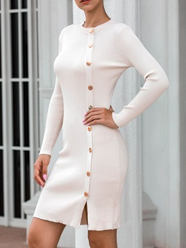 Split Long Sleeve Above Knee Plain Mid Waist Women's Dress
