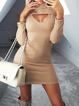 Hollow Above Knee Turtleneck Sexy Pullover Women's Dress