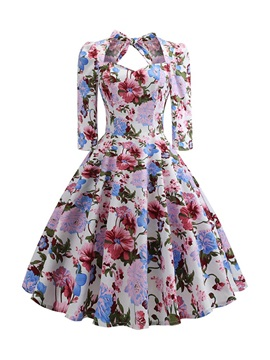 Mid-Calf Print Three-Quarter Sleeve Floral Mid Waist Women's Dress