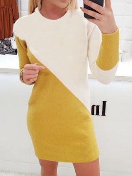 Above Knee Long Sleeve Round Neck Pullover Regular Women's Dress