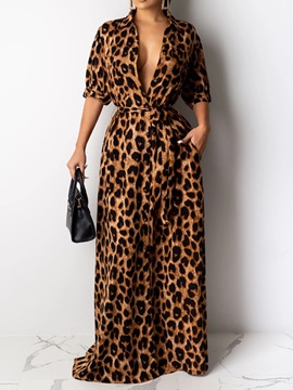 Print Half Sleeve Floor-Length Leopard Regular Women's Dress