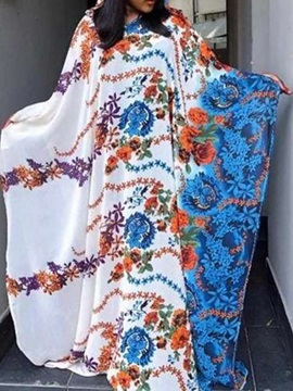 Floor-Length Long Sleeve Round Neck Floral Pullover Women's Dress