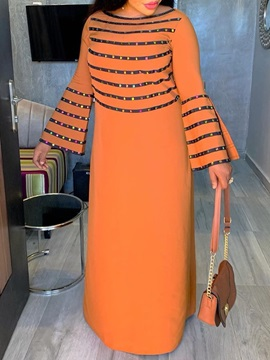 Round Neck Floor-Length Long Sleeve Stripe Casual Women's Dress