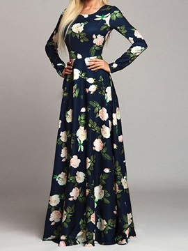 Print Floor-Length Round Neck Floral Pullover Women's Dress