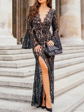 Lace V-Neck Floor-Length Flare Sleeve Elegant Women's Dress