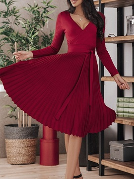 V-Neck Mid-Calf Long Sleeve Pullover Pleated Women's Dress