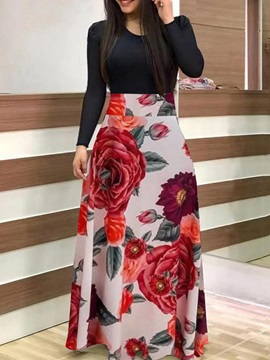 Floor-Length Print Long Sleeve A-Line Floral Women's Dress
