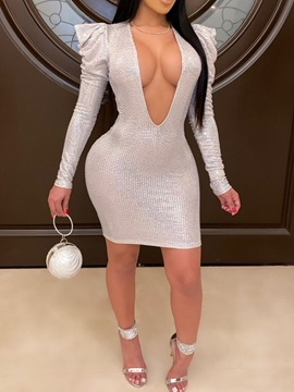 V-Neck Sequins Long Sleeve Spring Party/Cocktail Women's Dress