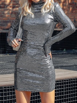 Sequins Above Knee Long Sleeve Date Night/Going Out Bodycon Women's Dress