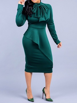 Mid-Calf Scoop Long Sleeve Bodycon Sweet Women's Dress