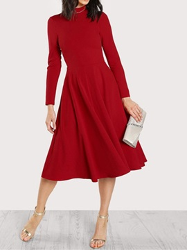 Stand Collar Nine Points Sleeve Mid-Calf Pullover Expansion Women's Dress